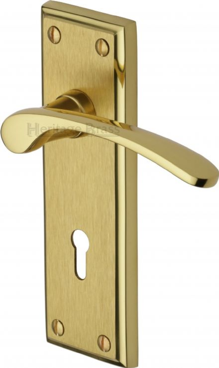 M Marcus Heritage Brass HIL8600MF Hilton Door Handle on Lock Backplate Mayfair Finish